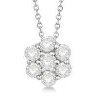 Cluster Diamond Flower Pendant Necklace 14K White Gold (1.00ct)