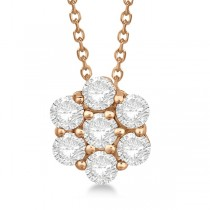 Cluster Diamond Flower Pendant Necklace 14K Rose Gold (1.50ct)