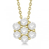 Cluster Diamond Flower Pendant Necklace 14K Yellow Gold (1.50ct)