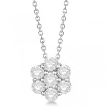 Cluster Diamond Flower Pendant Necklace 14K White Gold (1.75ct)