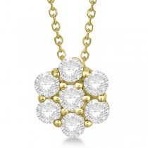 Cluster Diamond Flower Pendant Necklace 14K Yellow Gold (1.75ct)