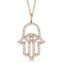 Diamond Hamsa Evil Eye Pendant Necklace 18k Rose Gold (0.51ct)