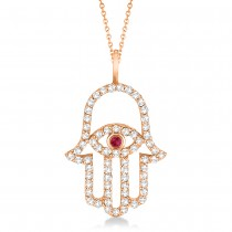 Diamond & Ruby Hamsa Evil Eye Pendant Necklace 14k Rose Gold (0.51ct)