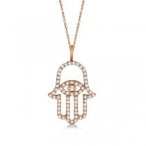 Diamond Hamsa Evil Eye Pendant Necklace 14k Rose Gold (0.51ct)