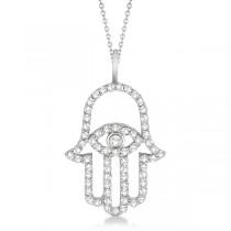 Diamond Hamsa Evil Eye Pendant Necklace 18k White Gold (0.51ct)