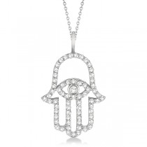 Diamond Hamsa Evil Eye Pendant Necklace 14k White Gold (0.51ct)