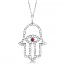Diamond & Ruby Hamsa Evil Eye Pendant Necklace 14k White Gold (0.51ct)