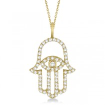 Diamond Hamsa Evil Eye Pendant Necklace 14k Yellow Gold (0.51ct)