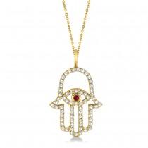 Diamond & Ruby Hamsa Evil Eye Pendant Necklace 14k Yellow Gold (0.51ct)