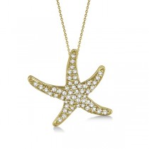 Diamond Starfish Pendant Necklace 14k Yellow Gold (0.55ct)