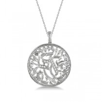 Shema Israel Diamond Pendant Necklace 14k White Gold (0.15ct)
