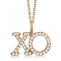 Diamond XO Pendant Necklace Hugs and Kisses 14K Rose Gold (0.20ct)
