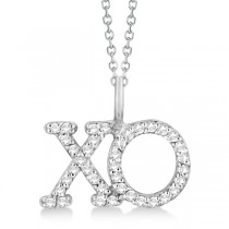 Diamond XO Pendant Necklace Hugs and Kisses 14K White Gold (0.20ct)