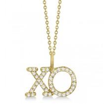 Diamond XO Pendant Necklace Hugs and Kisses 14K Yellow Gold (0.20ct)