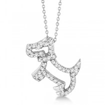 Diamond Dog Pendant Necklace Pave-Set 14K White Gold (0.22ct)
