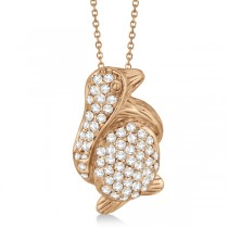 Pave Diamond Penguin Pendant Necklace 14K Rose Gold (0.61ct)
