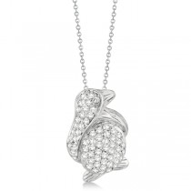 Pave Diamond Penguin Pendant Necklace 14K White Gold (0.61ct)|escape