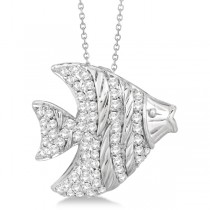 Pave Diamond Fish Pendant Necklace 14K White Gold (0.64ct)