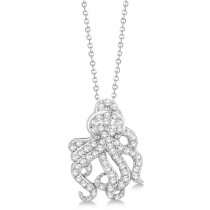 Pave Diamond Octopus Pendant Necklace 14K White Gold (0.61ct)|escape