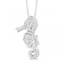 Pave Diamond Seahorse Pendant Necklace 14K White Gold (0.64ct)