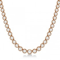 Eternity Diamond Tennis Necklace 14k Rose Gold (10.35ct)