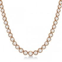 Eternity Diamond Tennis Necklace 14k Rose Gold (10.35ct)