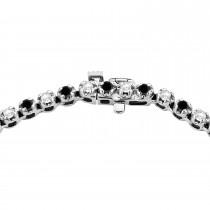 Eternity Black & White Diamond Tennis Necklace 14k White Gold (10.35ct)