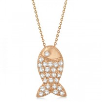 Fish Shaped Diamond Pendant Necklace Pave Set 14k Rose Gold (0.26ct)