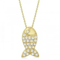Fish Shaped Diamond Pendant Necklace Pave Set 14k Yellow Gold (0.26ct)
