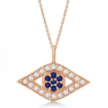 Evil Eye Diamond & Sapphire Pendant Necklace 14k Rose Gold (0.50ct)