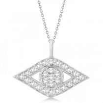 Evil Eye Diamond Pendant Necklace in 14k White Gold Pave Set (0.50ct)