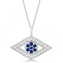 Evil Eye Diamond & Sapphire Pendant Necklace 14k White Gold (0.50ct)
