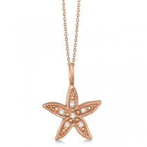 Diamond Accented Petite Starfish Pendant Necklace 14k Rose Gold (0.04ct)