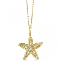 Diamond Accented Petite Starfish Pendant Necklace 14k White Gold (0.04ct)