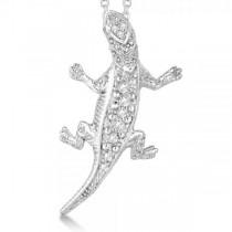 Diamond Lizard Pendant Necklace 14k White Gold 0.11ct