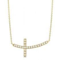 Diamond Sideways Curved Cross Pendant Necklace 14k Yellow Gold 0.33 ct