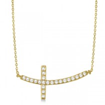 Diamond Sideways Curved Cross Pendant Necklace 14k Yellow Gold 0.50 ct