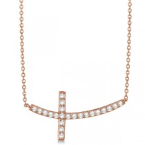 Diamond Sideways Curved Cross Pendant Necklace 14k Rose Gold 0.75 ct