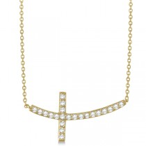 Diamond Sideways Curved Cross Pendant Necklace 14k Yellow Gold 0.75 ct