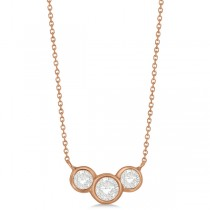 Three Stone Bezel Set Diamond Pendant Necklace 14k Rose Gold 1.00 ct