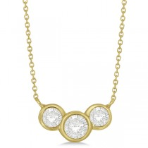 Three Stone Bezel Set Diamond Pendant Necklace 14k Yellow Gold 1.00 ct