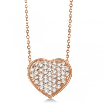 Pave Set Diamond Puffed Heart Pendant Necklace 14k Rose Gold 0.75ct