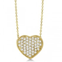 Pave Set Diamond Puffed Heart Pendant Necklace 14k Yellow Gold 0.75ct