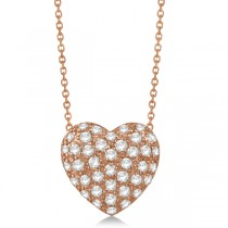Puffed Heart Diamond Pendant Necklace Pave Set 14k Rose Gold (1.04ctw)