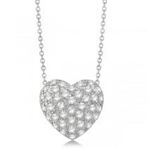 Puffed Heart Diamond Pendant Necklace Pave Set 14k White Gold (1.04ct)