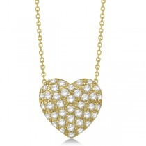 Puffed Heart Diamond Pendant Necklace Pave Set 14k Yellow Gold 1.04ct