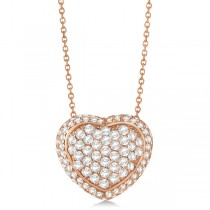 Diamond Accented Puffed Heart Pendant Necklace 14k Rose Gold (2.51cts)
