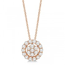 Diamond Halo & Cluster Pendant Necklace Pave Set 14k Rose Gold 0.33ct
