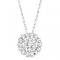 Diamond Halo & Cluster Pendant Necklace Pave Set 14k White Gold 0.75ct