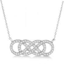 Multiple Infinity Diamond Pendant Necklace 14k White Gold 0.34ct.